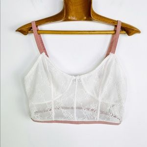 FREE PEOPLE White lace triangle Bralette blush L